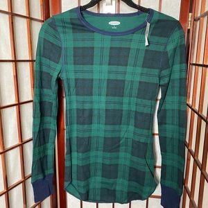 Green plaid nwt waffle thermal long sleeve top